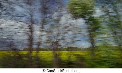 coutryside, ciel, nuageux, fenêtre, train, contre, équitation, paysage, vue