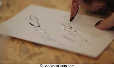 coutume, créer, papier, lettres, lettrage, ponctuation, ...