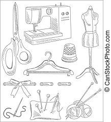 couture, accessoires, illustration, vecteur, handdrawn, style.