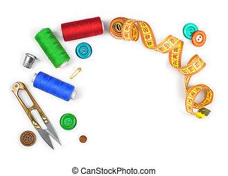 couture, ciseaux, fil, isolé, kit, boutons, fond, blanc, ...