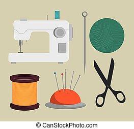 couture, conception, isolé, kit, icône