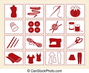 couture, crochet, tailleur, tricotter, icônes