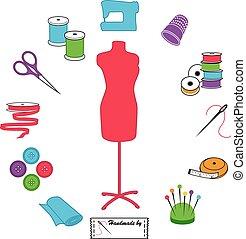 couture, et, adapter, icônes, pastels