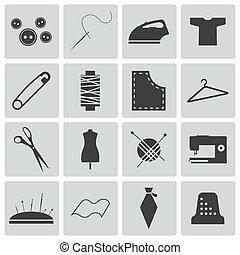 couture, vecteur, noir, ensemble, icônes