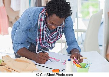Cr atif sourire concepteur dessin v tements concepteur bureau cr atif bureau sourire - Dessin couturiere ...