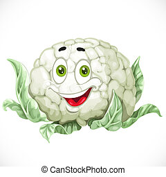 couve flor, isolado, caricatura, fundo, sorrindo, branca