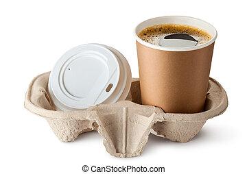 couvercle, emporter, ouvert, holder., near., café