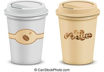 couvercle, tasses café, plastique