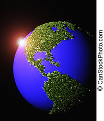 couvert, américain, herbe, continent