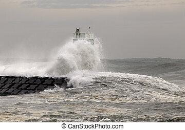 couvert, balise, jetée, mer, vagues