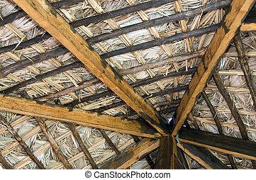 couvert chaume, construction, toit