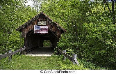 couvert, drapeau américain, pont