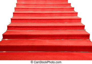 couvert, escalier, isolé, moquette rouge