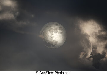 couvert, lune, entiers