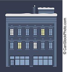 couvert, neige, maison, toit, nuit, vecteur