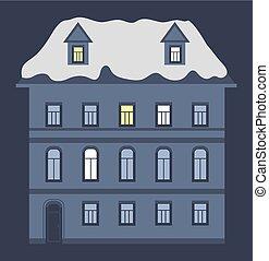 couvert, nuit, neige, vecteur, maison, toit