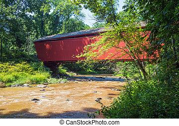 couvert, ruisseau, pont