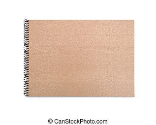 couverture, cahier, recyclé, papier, fond, devant, blanc