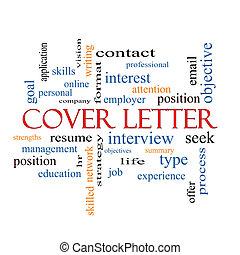 couverture, concept, mot, lettre, nuage