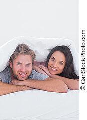 couverture, couple, beau, sous