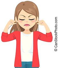 couverture, femme fâchée, doigts, oreilles