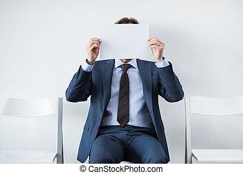 couverture, homme affaires, papier, figure