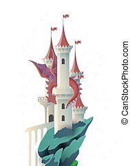 couverture, illustration, dragon, conte, livre, fée, château