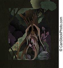 couverture, livre, esprit, ancien, arbre, magicien, sombre, figure, vieux, conte fées, forest., illustration