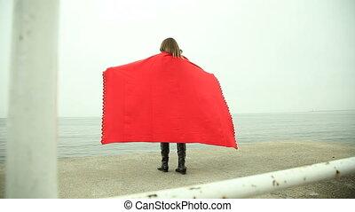 couverture, solitaire, jetée, girl, rouges