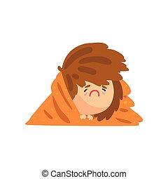 couverture, température, caractère, attrapé, grippe, malheureux, avoir, élevé, vecteur, illustration, malade, couvert, girl, dessin animé, mensonge