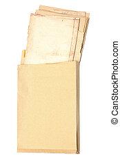 couvre papier, vieux, enveloppe jaune