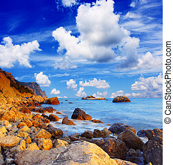 cove - Beautiful sea and clouds sky with sun