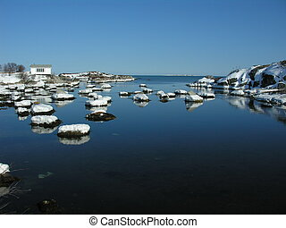 cove - beautiful winter day in the outport community of...