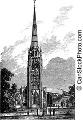 Coventry Cathedral or Saint Michael's Cathedral in England, United Kingdom, vintage engraving