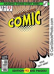 cover., 漫画, 巨人, 大きさ, comic., 本