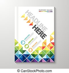 Cover Annual report - Abstract colorful low polygon...