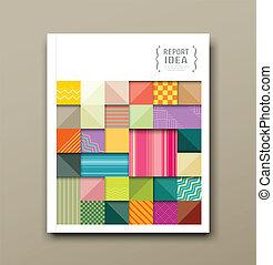 Cover annual report, colorful pattern fabrics square design background, vector illustration