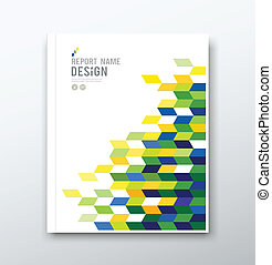 Cover annual report geometric design background, vector illustration