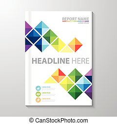 Cover Annual report - Abstract colorful triangle background....