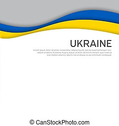 Cover, banner in state colors of Ukraine. Abstract waving flag of ukraine. Paper cut style. Creative background for patriotic holiday card design. National Poster. Vector design