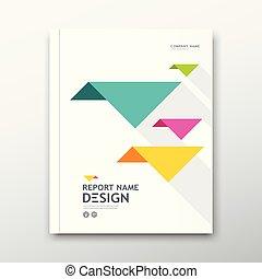Cover book Annual report, colorful bird origami paper on white design