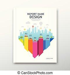 Cover book design annual report, Chart design, Brochure template