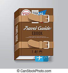 Cover Book Travel Guide Design luggage Concept Template /...