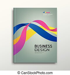 Cover Business book annual report colorful ribbon design