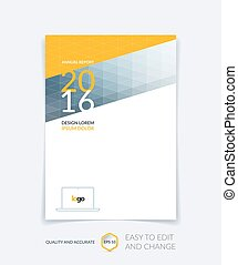 Cover design, flyer, leaflet, with modern abstract geometric background with triangles for business, technology and science design layout . Brochure template with digital pixel mosaic.