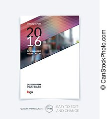 Cover design, flyer, leaflet, with modern abstract geometric background with triangles for business, technology and science  layout . Brochure template with digital pixel mosaic.