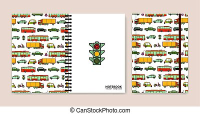 Cover design for notebooks or scrapbooks with cars and city transport