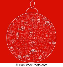 Cover design in the form of a Christmas ball on a red background with white elements for decorative design. Happy new year ornament. Vector illustration of an abstract shape. Greeting card Christmas balls, gifts, sweets, holly, bows. EPS 10