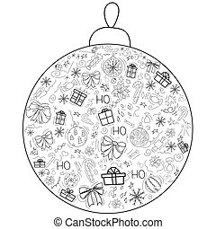 Cover design in the form of a Christmas ball on a white background with black elements for decorative design. Happy new year ornament. Vector illustration of an abstract shape. Greeting card Christmas balls, gifts, sweets, holly, bows. EPS 10
