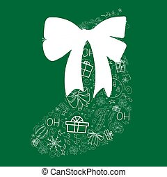 Cover design in the form of a Christmas sock on a green background with white elements and big bow for decorative design. Happy new year ornament. Vector illustration of an abstract shape. Greeting card Christmas balls, gifts, sweets, holly, bows. EPS 10